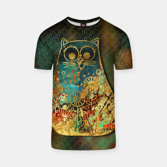 Miniaturka Cute Boho Style cat on paint texture and gold outline T-shirt, Live Heroes