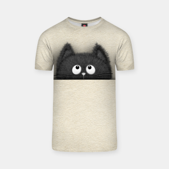 Miniaturka Cute Fluffy Black cat peaking out  T-shirt, Live Heroes