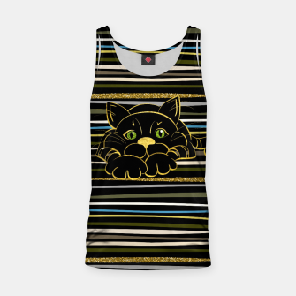 Miniaturka Black Cat with Green Glitter eyes and gold outline Tank Top, Live Heroes