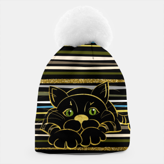 Miniaturka Black Cat with Green Glitter eyes and gold outline Beanie, Live Heroes