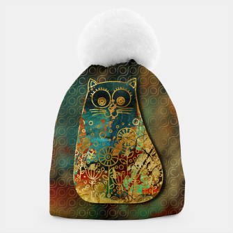 Miniaturka Cute Boho Style cat on paint texture and gold outline Beanie, Live Heroes
