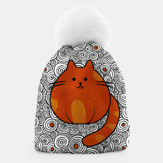 Miniatur Cute Ginger Cat - Stained glass and swirls Beanie, Live Heroes