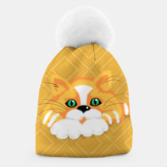 Miniatur Cute Fluffy Ginger and white cat Beanie, Live Heroes