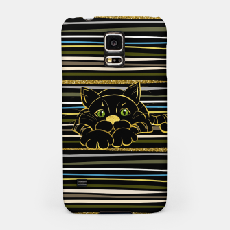 Miniaturka Black Cat with Green Glitter eyes and gold outline Samsung Case, Live Heroes
