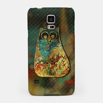 Miniaturka Cute Boho Style cat on paint texture and gold outline Samsung Case, Live Heroes