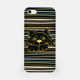 Miniaturka Black Cat with Green Glitter eyes and gold outline iPhone Case, Live Heroes