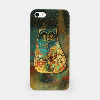 Miniaturka Cute Boho Style cat on paint texture and gold outline iPhone Case, Live Heroes