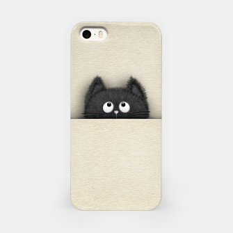 Miniaturka Cute Fluffy Black cat peaking out  iPhone Case, Live Heroes