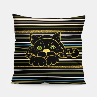 Miniaturka Black Cat with Green Glitter eyes and gold outline Pillow, Live Heroes