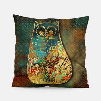 Miniaturka Cute Boho Style cat on paint texture and gold outline Pillow, Live Heroes