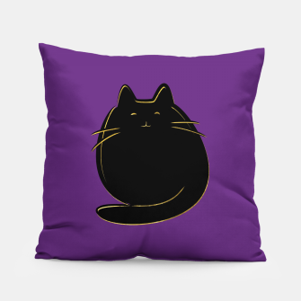 Miniaturka Cute black and gold cat on purple  Pillow, Live Heroes