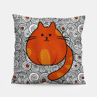 Thumbnail image of Cute Ginger Cat - Stained glass and swirls Pillow, Live Heroes