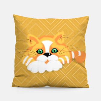Miniatur Cute Fluffy Ginger and white cat Pillow, Live Heroes