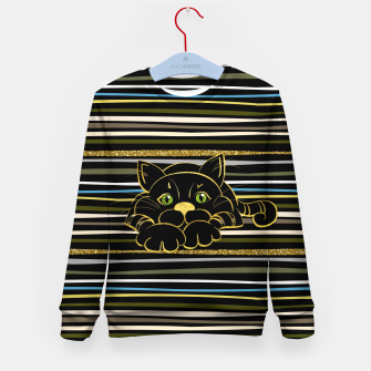 Miniaturka Black Cat with Green Glitter eyes and gold outline Kid's sweater, Live Heroes