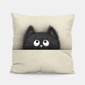 Miniaturka Cute Fluffy Black cat peaking out  Pillow, Live Heroes