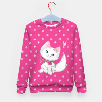 Miniaturka Cute White Kitten with Butterfly on Pink Background Kid's sweater, Live Heroes