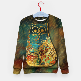 Miniaturka Cute Boho Style cat on paint texture and gold outline Kid's sweater, Live Heroes
