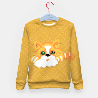 Miniatur Cute Fluffy Ginger and white cat Kid's sweater, Live Heroes