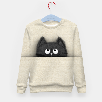 Miniaturka Cute Fluffy Black cat peaking out  Kid's sweater, Live Heroes