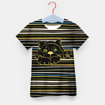 Miniaturka Black Cat with Green Glitter eyes and gold outline Kid's t-shirt, Live Heroes