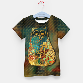 Miniaturka Cute Boho Style cat on paint texture and gold outline Kid's t-shirt, Live Heroes