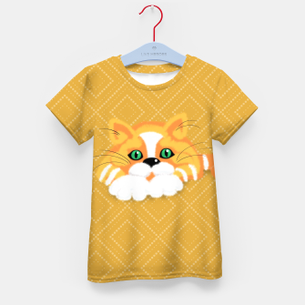 Miniatur Cute Fluffy Ginger and white cat Kid's t-shirt, Live Heroes