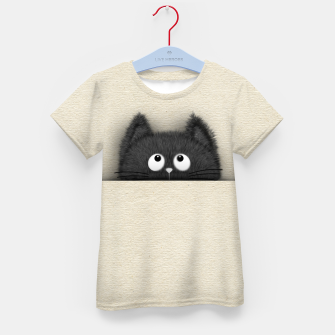 Miniaturka Cute Fluffy Black cat peaking out  Kid's t-shirt, Live Heroes