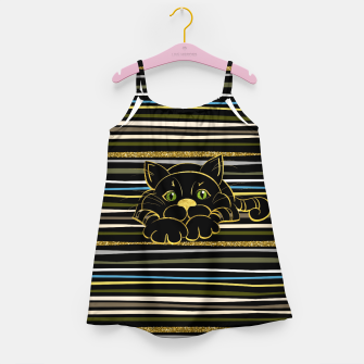 Miniaturka Black Cat with Green Glitter eyes and gold outline Girl's dress, Live Heroes