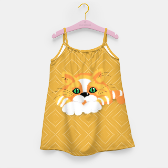 Miniatur Cute Fluffy Ginger and white cat Girl's dress, Live Heroes
