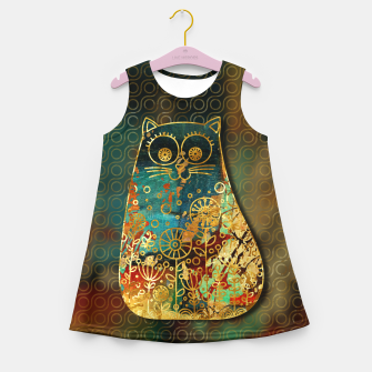 Miniaturka Cute Boho Style cat on paint texture and gold outline Girl's summer dress, Live Heroes