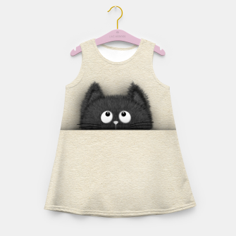 Miniaturka Cute Fluffy Black cat peaking out  Girl's summer dress, Live Heroes