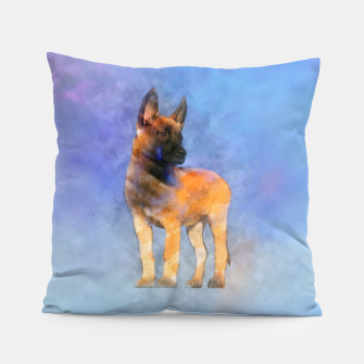 Thumbnail image of Belgian Malinois Puppy Painting - Mechelaar Pillow, Live Heroes