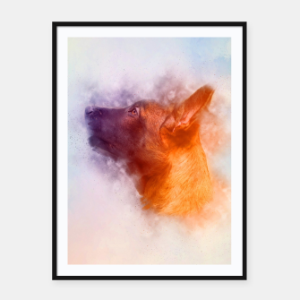 Thumbnail image of Belgian Malinois Puppy Painting - Mechelaar Framed poster, Live Heroes