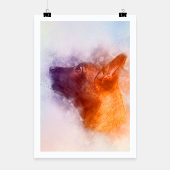 Thumbnail image of Belgian Malinois Puppy Painting - Mechelaar Poster, Live Heroes