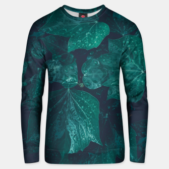 Thumbnail image of Dark emerald green ivy leaves water drops Cotton sweater, Live Heroes