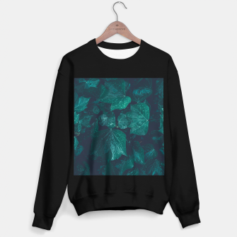 Thumbnail image of Dark emerald green ivy leaves water drops Sweater regular, Live Heroes