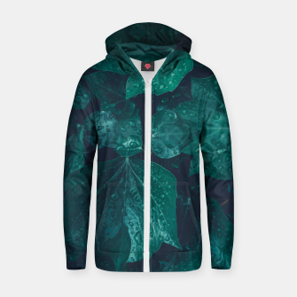 Miniaturka Dark emerald green ivy leaves water drops Cotton zip up hoodie, Live Heroes