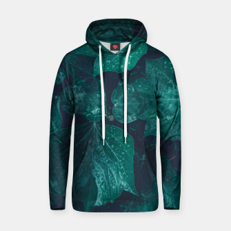 Thumbnail image of Dark emerald green ivy leaves water drops Cotton hoodie, Live Heroes