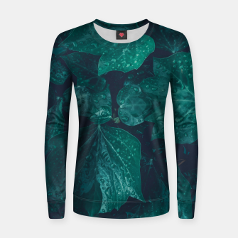 Thumbnail image of Dark emerald green ivy leaves water drops Woman cotton sweater, Live Heroes