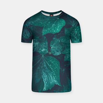 Thumbnail image of Dark emerald green ivy leaves water drops T-shirt, Live Heroes