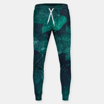 Thumbnail image of Dark emerald green ivy leaves water drops Cotton sweatpants, Live Heroes