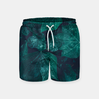 Thumbnail image of Dark emerald green ivy leaves water drops Swim Shorts, Live Heroes