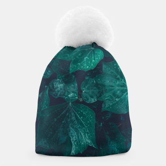 Thumbnail image of Dark emerald green ivy leaves water drops Beanie, Live Heroes