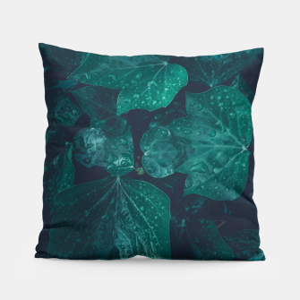 Thumbnail image of Dark emerald green ivy leaves water drops Pillow, Live Heroes