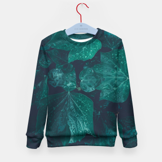 Thumbnail image of Dark emerald green ivy leaves water drops Kid's sweater, Live Heroes