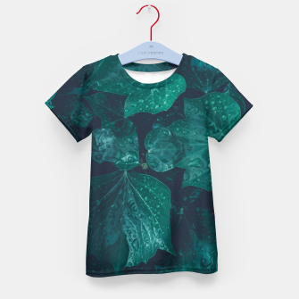 Thumbnail image of Dark emerald green ivy leaves water drops Kid's t-shirt, Live Heroes