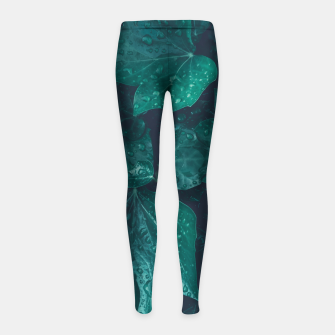 Thumbnail image of Dark emerald green ivy leaves water drops Girl's leggings, Live Heroes