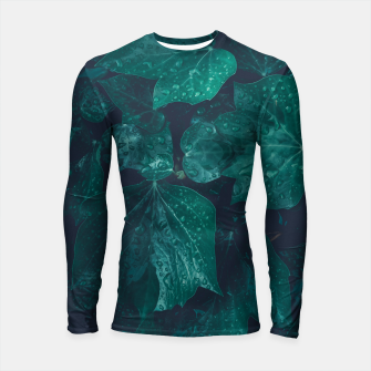 Thumbnail image of Dark emerald green ivy leaves water drops Longsleeve rashguard , Live Heroes