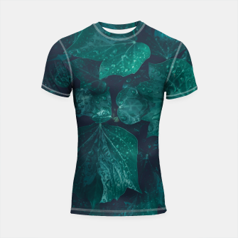 Thumbnail image of Dark emerald green ivy leaves water drops Shortsleeve rashguard, Live Heroes