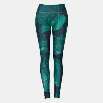 Thumbnail image of Dark emerald green ivy leaves water drops Leggings, Live Heroes